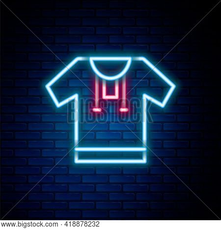Glowing Neon Line Embroidered Shirt Icon Isolated On Brick Wall Background. National Ukrainian Cloth