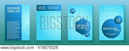 World Oceans Day Brochure Cover Templates Vector Set. Ecological Booklets With Clean Sea Water Caust