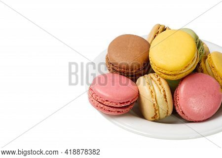 French Dessert Macaron Isolated On White Background. Modern Macarons On Colorful Background.