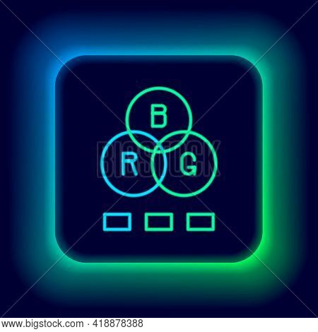 Glowing Neon Line Rgb Color Mixing Icon Isolated On Black Background. Colorful Outline Concept. Vect