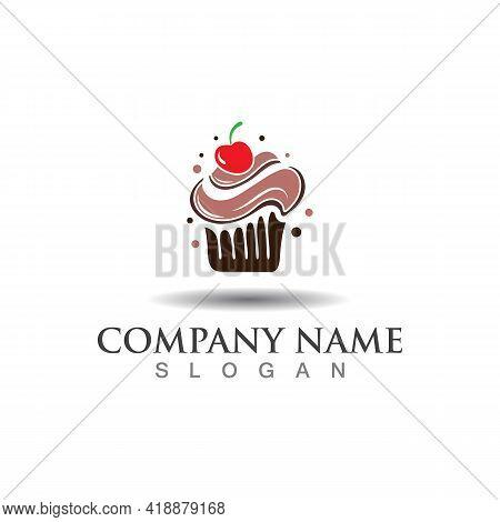 Cupcake Bakery Logo Sweet Dessert Template Icon Bakery Design