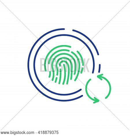 System Security Update And Upgrade Concept. Fingerprint Recognition, Biometric Identification Icon.