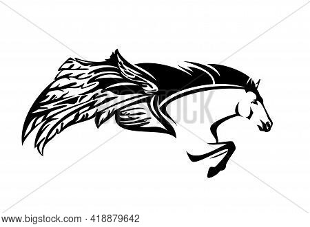 Pegasus Winged Horse Head And Front Legs - Mythical Animal Flying Forward Black And White Vector Des