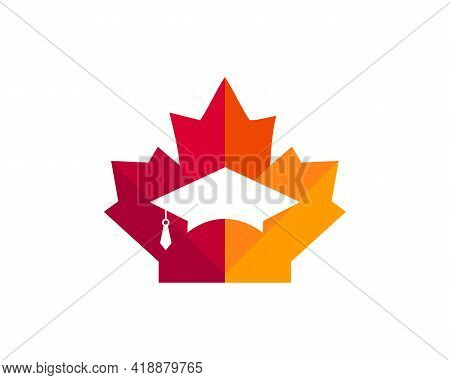 Maple Education Hat Logo Design. Canadian Education Logo. Red Maple Leaf With Education Hat Concept