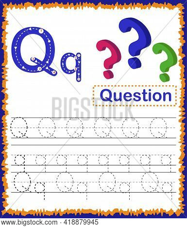 Vector Illustration Of Exercises With Cartoon Vocabulary For Kids. Colorful Letter Q Uppercase And L
