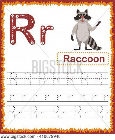 Vector Illustration Of Exercises With Cartoon Vocabulary For Kids. Colorful Letter R Uppercase And L