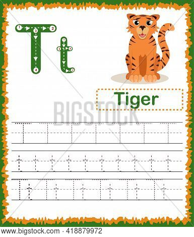 Vector Illustration Of Exercises With Cartoon Vocabulary For Kids. Colorful Letter T Uppercase And L