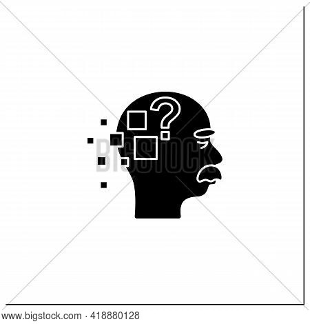 Alzheimer Disease Glyph Icon. Memory Loss.destroys Memory, Thinking Skills.repeating Questions, Losi