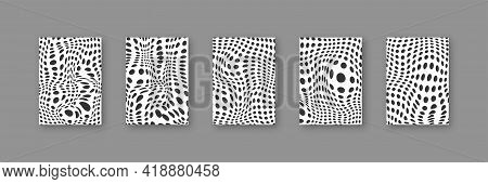Distorted Round Dots Vector Circle Shape Distortion Background Set, Flat Warped Dot Decorative Black