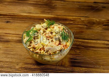 Tasty Salad With Chicken Breast, Roasted Mushrooms, Carrots, Grated Cheese, Eggs And Mayonnaise On W