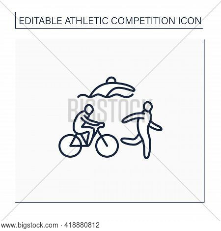 Triathlon Line Icon. Olympic Sport. Swimming, Cycling And Running. Same Sequence.athletic Competitio