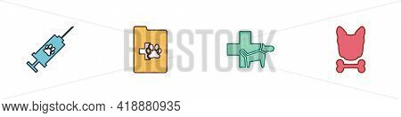 Set Syringe With Pet Vaccine, Clinical Record, Veterinary Clinic And Dog And Bone Icon. Vector