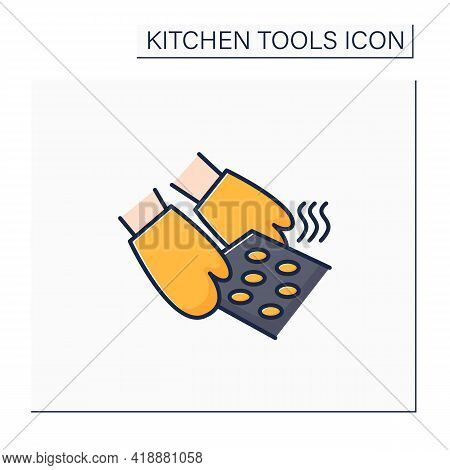 Oven Mitts Color Icon. Insulated Glove.used To Protect Hands From Hot Ware. Kitchen Tools Concept. I