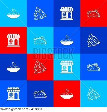 Set Nachos In Plate, , Pizzeria Building Facade And Taco With Tortilla Icon. Vector