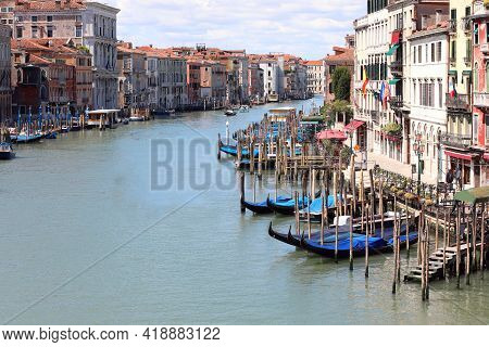 Grand Canal In Venice With Very Few Boats Sailing During The Lockdown With Very Few Tourists