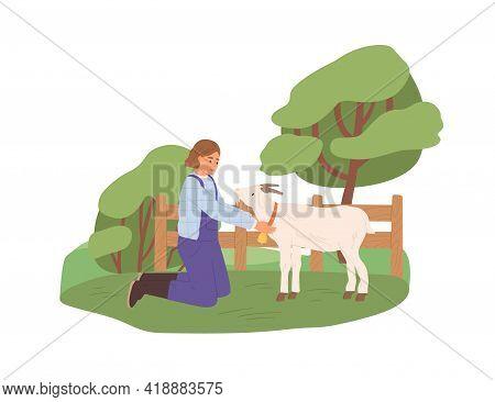 Female Farmer With Goat On Yard. Happy Woman In Uniform And Domestic Animal On Farm In Summer. Rural