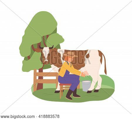 Milkmaid Milking Cow With Bucket Under Udder. Farmer And Domestic Animal On Organic Farm. Dairymaid