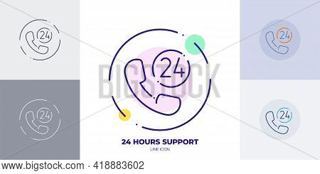 24 Hours Call Line Art Vector Icon. Outline Symbol Of 24 Hours Online Support. 24 Customer Support M