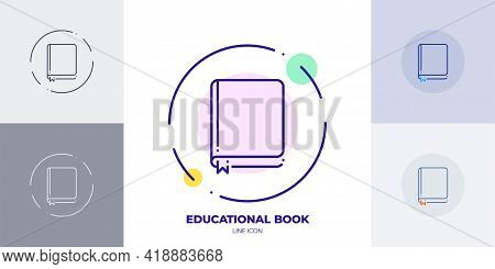 Closed Education Book With Bookmark Line Art Vector Icon. Outline Symbol Of School Education.
