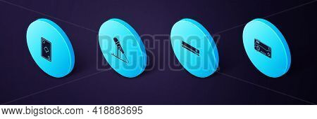 Set Isometric Mobile And Playing In Game, Video Console, Microphone And Playing Card With Diamonds I