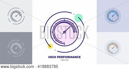 Web Site Performance Indicator Line Art Vector Icon. Outline Symbol Of Fast Speed Website Performanc
