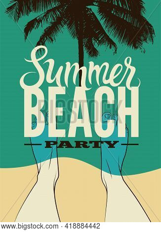 Typographic Summer Beach Party Retro Poster Design. Vector Illustration. Eps 10.