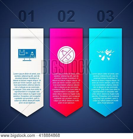 Set Stop Plastic Pollution, No Bottle And Problem Of Planet. Business Infographic Template. Vector