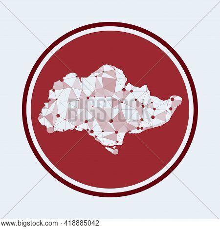 Sentosa Icon. Trendy Tech Logo Of The Island. Geometric Mesh Round Design. Technology, Internet, Net