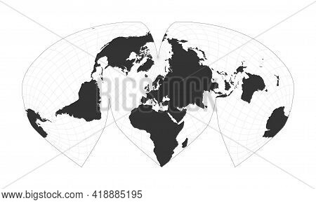 Map Of The World. Alan K. Philbrick's Interrupted Sinu-mollweide Projection. Globe With Latitude And