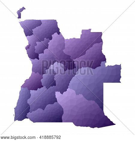 Angola Map. Geometric Style Country Outline. Adorable Violet Vector Illustration.