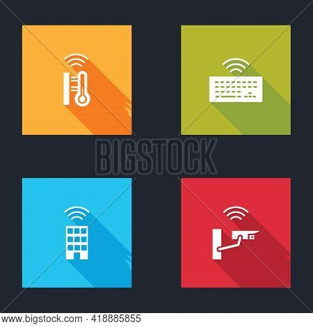 Set Smart Thermometer, Wireless Keyboard, Home With Wireless And Security Camera Icon. Vector