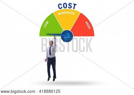 Cost management concept with businessman