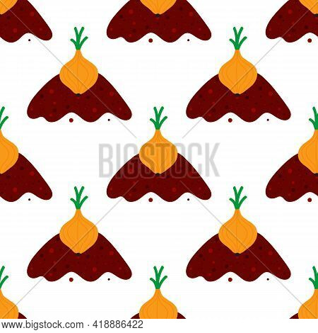 Onion Vegetable With Green Leaves Growing In Ground, Soil. Onion Growing Process Vector Seamless Pat