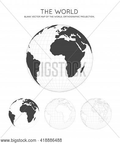 Map Of The World. Orthographic Projection. Globe With Latitude And Longitude Lines. World Map On Mer