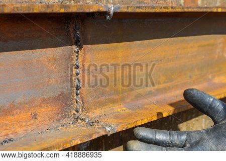 Defective Butt Weld Of Welding Of Metal Sheets. Repair Of A Tank For Storing Oil, Gasoline And Gas