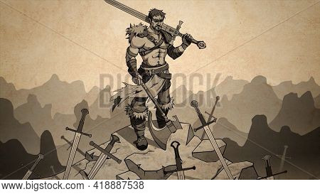 Abstract Cartoon With A Muscular Warrior With A Sword And Medieval Axe Standing On The Ruins Of Defe