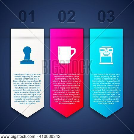 Set Coffee Tamper, Cup And Machine. Business Infographic Template. Vector