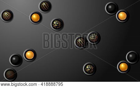 Dark Technology Background. Black Metal Surface With Color Spheres
