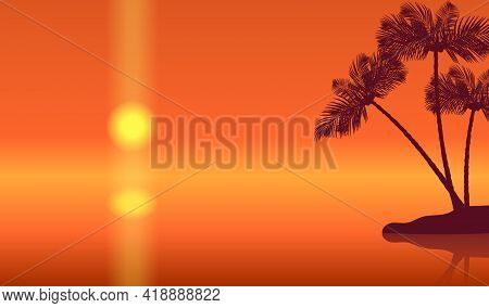 Sunset Landscape With Palm Trees Silhouettes And Golden Sun