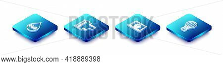 Set Isometric Line Water Drop With H2o, Camera Film Roll Cartridge, Shopping Basket On Laptop And Ho