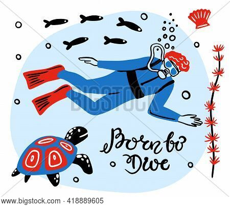 Summer Sports. Scuba Diving In A Variety Of Poses, Boy. Hand-drawn. Drawing Lines. Vector Illustrati