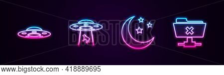 Set Line Ufo Flying Spaceship, Abducts Cow, Moon And Stars And Ftp Cancel Operation. Glowing Neon Ic