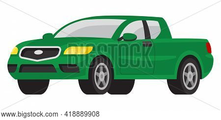 Pickup Three Quarter View. Automobile In Cartoon Style.