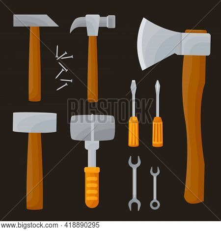 Construction Equipment. Vector Set Of Items Isolated On White Background. Home Repair Tools, Hammers