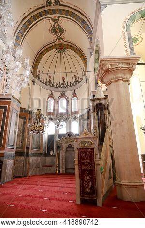 Istanbul, Turkey - March 07, 2021: Inside Of Zeyrek Mosque In Fatih District. Zeyrek Mosque Built In