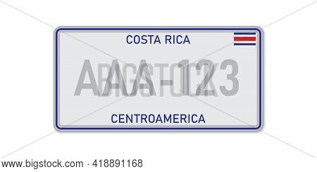 Car Number Plate . Vehicle Registration License Of Costa Rica. American Standard Sizes