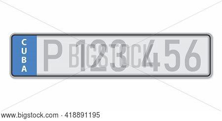 Car Number Plate . Vehicle Registration License Of Cuba. European Standard Sizes