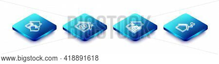 Set Isometric Line House With Heart Shape, Dollar, Rising Cost Of Housing And Icon. Vector