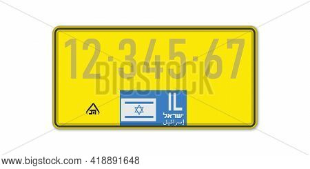 Car Number Plate . Vehicle Registration License Of Israel. With Text Israel On Arabic And Israeli. A
