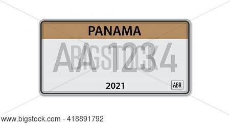 Car Number Plate . Vehicle Registration License Of Panama. American Standard Sizes